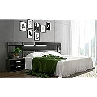 SUENOSZZZ- Cabecero de madera Modelo Ámbar Exclusive color Ceniza/Negro con LEDS decorativos + 2 Mesitas de noche de 2 cajones. Medidas cabecero: 260 x 60 x 4 cm. Medidas Mesita: 60 x 50 x 40 cm.