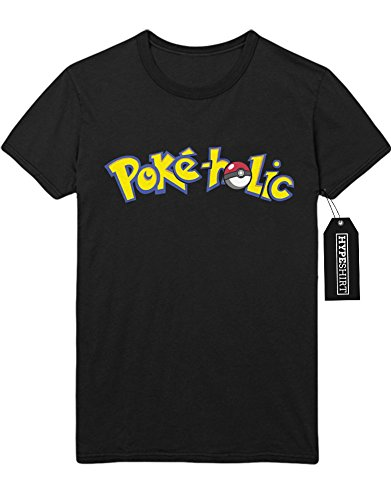 T-Shirt Pokemon Go Poke-Holic The Only Reason I Walk Hype Kanto X Y Nintendo Blue Red Yellow Plus Hype Nerd Game C123124 Schwarz