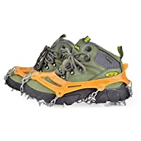 fghfhfgjdf 18 Tooth Crampons Stainless Steel Crampons Winter Snow Shoe Covers(Silver)
