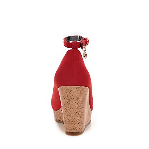 VogueZone009 Femme Boucle à Talon Haut Suédé Couleur Unie Rond Chaussures Légeres Rouge
