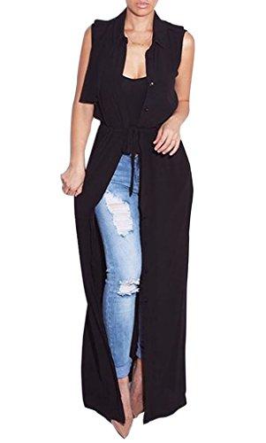 Smile YKK Gilet Long Femme Mousseline de Soie Cardigan Veste Sans Manche Manteau Eté Mode Noir