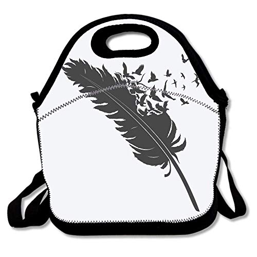 d4cba7c46caf Single Feather with Flying Flock of Birds Nature Wildlife Concept Art  Reusable Neoprene Lunch Bag Insulated Lunch Box Tote for Women Men Adult  Kids ...