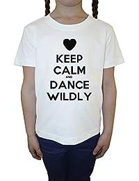 Keep Calm And Dance Wildly Blanco Algodón Niña Niños Camiseta Manga Corta Cuello Redondo Mangas White Girls Kids T-shirt