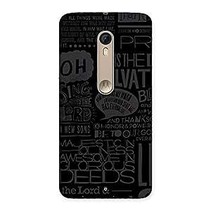 Premium Grey Typograph Back Case Cover for Motorola Moto X Style