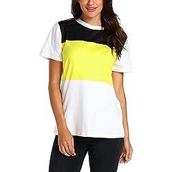 OSYARD Damen O Neck Kurzarm Patchwork Printed Bluse Tops Kleidung T-Shirt(EU 42/M, Yellow)