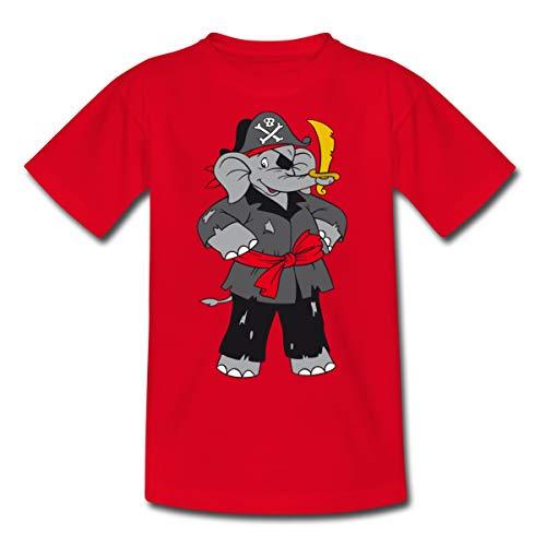 (Spreadshirt Benjamin Blümchen Als Pirat Kinder T-Shirt, 122/128 (7-8 Jahre), Rot)