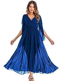 HEFEI Vestidos para mujeresEuropean y Estilo Americano Vestido de Fiesta Vestido de Temperamento Sexy XIAOXIAO (Color : Azul,…