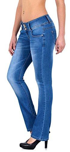 ESRA Damen Jeans Bootcut Jeanshose Hüftjeans Schlaghose Damen Hose DD - Zurück Bootcut Denim Jeans