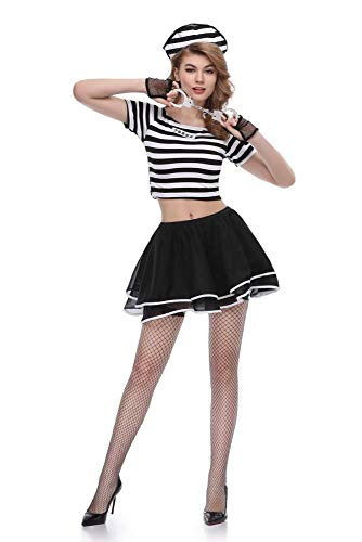 Yunfeng Hexenkostüm Damen Einheitliche weibliche Gefangene Partykleid Cosplay Halloween-Kostüm