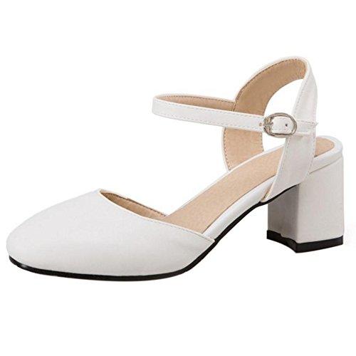 TAOFFEN Femme Elegant Talon Moyen Bride Cheville Boucle Escarpins Bout Ferme Chaussures Bureau Blanc