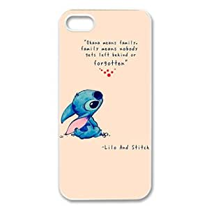 Lilo & Stitch Coque pour iPhone 5 et 5S Inscription Ohana means family,family means nobody gets left behind,or forgotten