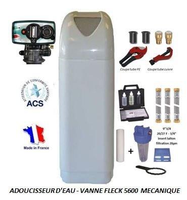 Adoucisseur d'eau 8L Fleck 4600 MV eau chaude complet avec accessoires