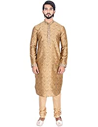 Manyavar Men's Full Sleeve Regular Fit Banded Collar Designer Kurta & Churidar Set