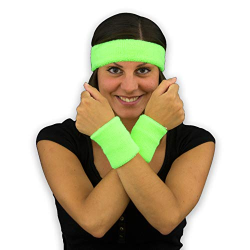 Kostüm Stirnband - Eventlights NEON Schweißbänder Set - 4 Sets - 12 Teile - Schwarzlicht Leuchteffekt