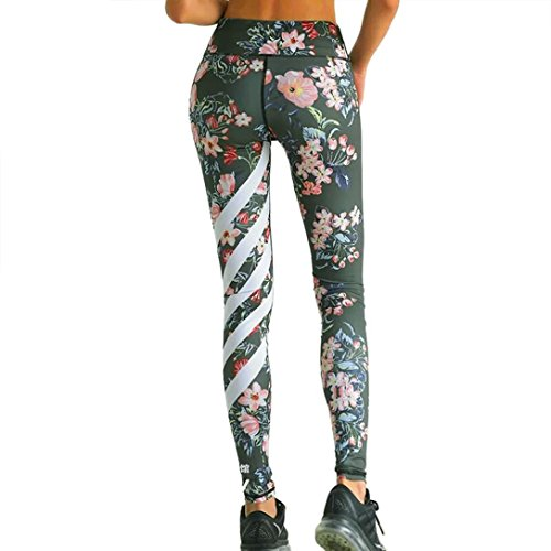 Sport Leggings Damen,Dasongff Frauen Sports Leggings Floral Printed Striped Yoga Pants Workout Gym Fitness Legging Tights Mitte Taille Strumpfhose Bunt Strech Sweathose (S, Army grün) (Leggings Floral Grün)