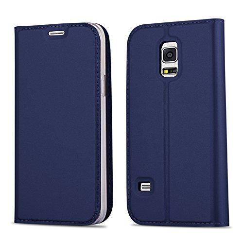 Cadorabo Hülle für Samsung Galaxy S5 Mini / S5 Mini DUOS - Hülle in DUNKEL BLAU – Handyhülle mit Standfunktion und Kartenfach im Metallic Look - Case Cover Schutzhülle Etui Tasche Book Klapp Style