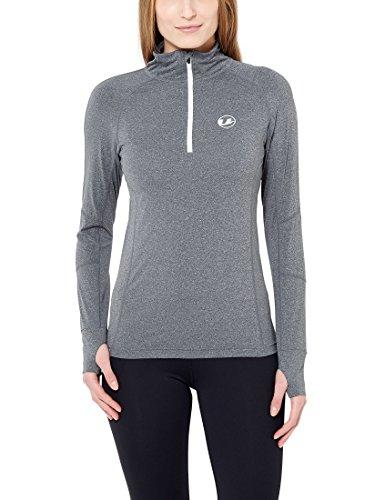 Ultrasport - Camiseta funcional deportiva para correr de manga larga para mujer, color gris / blanco, talla 38