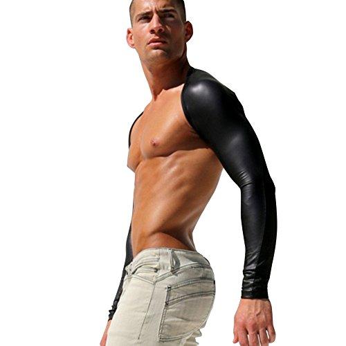 Kostüm Herren Sexy - iEFiEL Herren kostüm Arm Hülsen Wetlook Hauteng Muskelshirt Langarm Schwarz M
