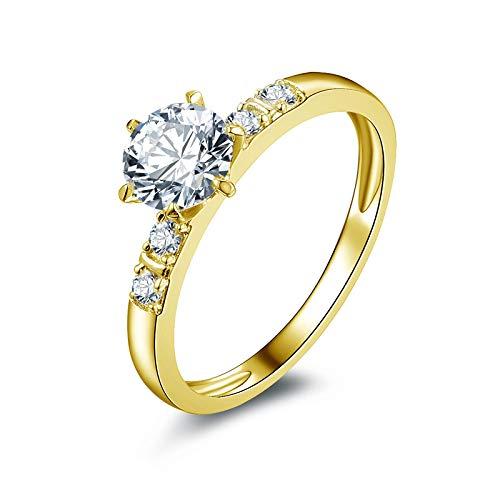 HXUJ 10-Zoll-Trauring aus massivem Gelbgold mit rundem Schliff von 0,8 ct, simulierter Diamant-Trauring Real Gold Woman Rings für Frauen,8.5 (Frauen 18k Männer Trauringe Und)
