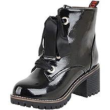 Botas para Mujer,Mujeres Ronda Zapatos de tacón Anti-Deslizamiento Cruz-Atado Botas