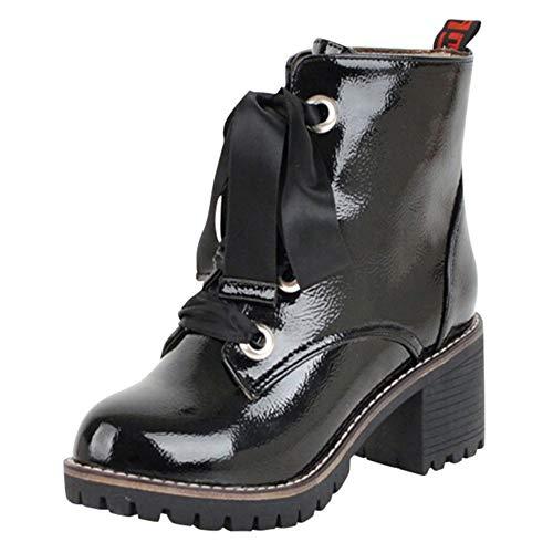 Winter Schuhe Damen,Elecenty Frauen Trichterabsatz Damenschuhe Spitzschuh Stiefel Kurzschaft Stiefeletten Chelsea Flandell Boots Schnürboots Schnürstiefel