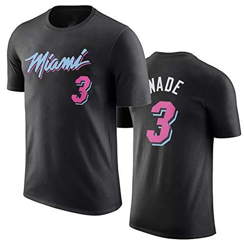 ATI-HSKJ Das Basketball-T-Shirt der Männer Dwyane Tyrone Wade die Hitze-Basketballspiel Uniformhemden des Blitz-# 3 Miami lockert Retro atmungsaktive Spitzenjerseysklage auf,Schwarz,2XL:180cm~185cm