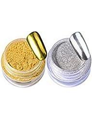 Demarkt 2 Boîte Poudre Magique Effet Miroir Argent Scintillement Poudre de Rainbow Nail Art Manucure Chrome Pigment Paillettes et Micro-billes - Or et Argent (3g/boîte)