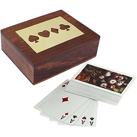 Scatola di carte da gioco in legno per la conservazione–supporto di carte da gioco con mazzo di carte–Giochi di carte–12,2x 8,9x 3,8cm