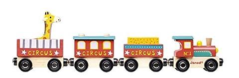 Janod Holzspielzeug - Zirkuswelt Story Zug groß, 5 teilig , Mehrfarbig