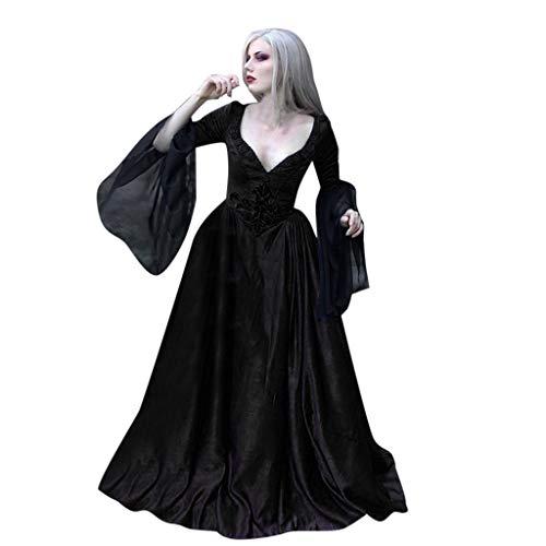 SUMTTER Halloween Schwarze Voller Länge Kleid Damen Gothic Kostüm Cosplay Satan Hexe Vampir Kostüm Weihnachten