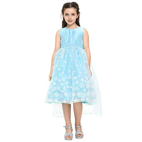 Imagen de katara  disfraz de princesa de hielo con falda de tul, brillo, copos de nieve y tiara, color azul claro, vestido velo, 7 8 años 1842 050  alternativa