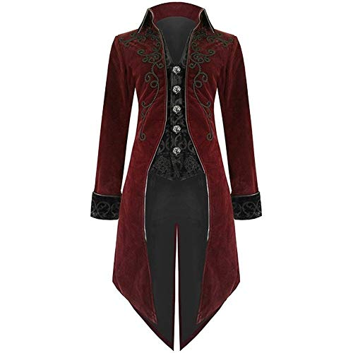 (MYMYG Mode Herren Frack Jacke Gothic Steampunk Uniform Kostüm Party Outwear Mantel Retro Gericht Gothic Abendkleid Cos Revers Schwalbenschwanz Stage Jacket Schwarz)