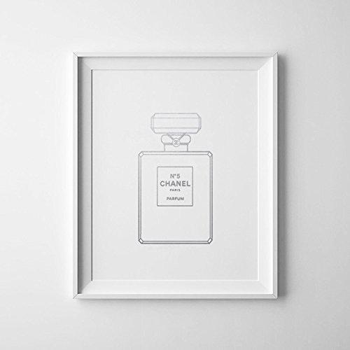 chanel-bouteille-art-poster-argent-bouteille-de-parfum-chanel-home-decor-fashion-chanel-bande-dessin