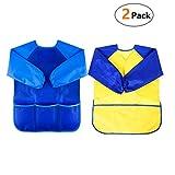 Malschürze Kinder 3-7 Jahre, MOREFUN 2er Malkittel/Bastelschürze/Langarm Kittel/Wasserdichter Schürze für Jungen und Mädchen (Blau+Gelb)