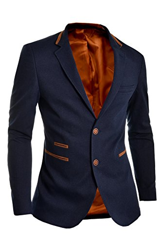 Mens Blazer Jacket Casual Formal Knitting Dark Blue Buttoned Suede Patches UK