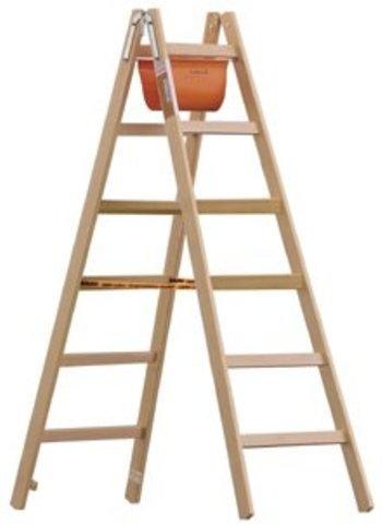 Bock- und Malerleiter aus Holz mit Breitsprossen 6 Sprossen, Standhöhe 1,05 m