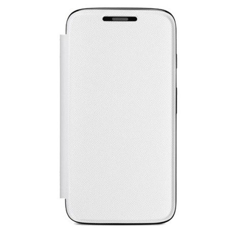 Flip Cover Case with Hard Back for Motorola Moto E - White