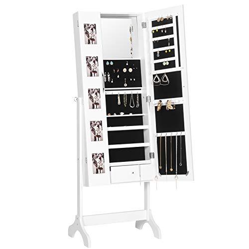 EUGAD Schmuckschrank Standspiegel mit Doppeltür und Fotorahmen Schmuckregal Spiegelschrank mit Magnetverschluss, Schmuckkasten