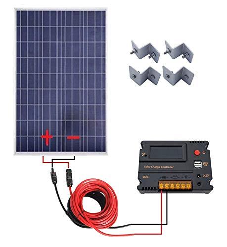 ECOWORTHY 100Watt 12V Pannelli solari Kit + 20A regolatore di Carica per off-Grid 12Volt Batteria Sistema