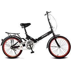 LHLCG Portable Ultra léger léger d'amortisseur de Vitesse Se Pliant de Bicyclette de 20 Pouces,Black