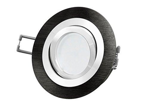 LED Einbau-Strahler RF-2 schwenkbar, Einbau-Leuchte Aluminium gebürstet schwarz eloxiert, 5W SMD warm-weiß, GU10 230V [IHRE VORTEILE: einfacher EINBAU, hervorragende LEUCHTKRAFT, LICHTQUALITÄT und VERARBEITUNG] auch Carport / Vordach (Eloxiertes Schwarz Weiss Warm Licht)