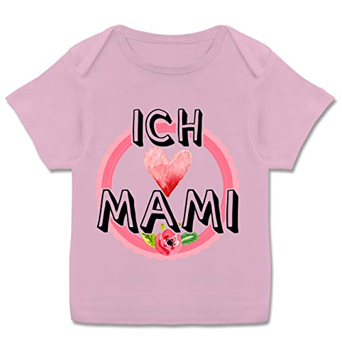 Muttertag Baby - Ich Liebe Mami Herz - 68-74 (9 Monate) - Rosa - E110B - Kurzarm Baby-Shirt für Jungen und Mädchen (Ich Liebe Meine Mami-shirt Für Jungen)