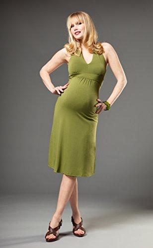 Picchu Maternity Damen Neckholder Kleid Olivgrün
