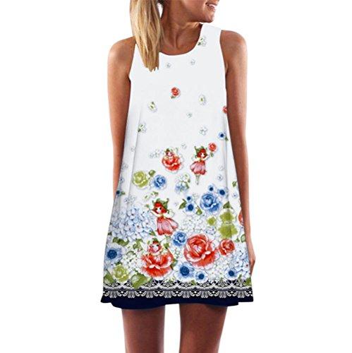 Damen Kleider Frauen Vintage Boho Sommerkleider Ärmelloses Strand Gedruckt Kurze Minikleid A Line Abendkleid Swing Casual T-Shirt Kleid Großen Größen Partykleid Cocktailkleid (XL, Sexy Weiß) (Pullover Mit V-ausschnitt-kleid)