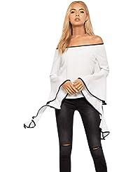 LILICAT Mujeres de Blusa con Volantes de Hombro, Camisa Elegante Atractiva del Otoño (Blanco, S)