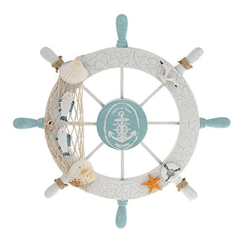 NiceButy Holz nautischen Beach Boot Schiff Lenkrad Angeln Net Shell Home Wand-Decor Weiß-Fisch