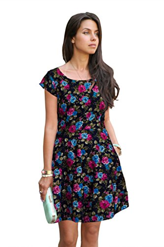 western dresses for women Floral Magenta Skater Colour exclusive Dress ( All Size available )