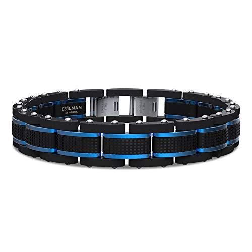 COOLMAN Armband Herren Schmuck Herrenarmband Edelstahl Männer Armbänder Herrenschmuck Einstellbarem Blau & Schwarz 15.5-17cm