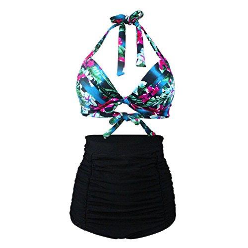 Laorchid 50s Vintage Damen Badeanzug Bauchweg Hoher Taille Bikini Set Push Up Bügellos blau & schwarz XL