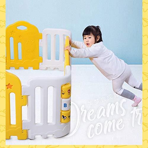ACZZ Bettgitter Sicherheit Laufstall Kind Spielzeug Zaun Family Park mit Fun Corner Roller Safe Portable,Grau + Gelb,158 * 242 cm -